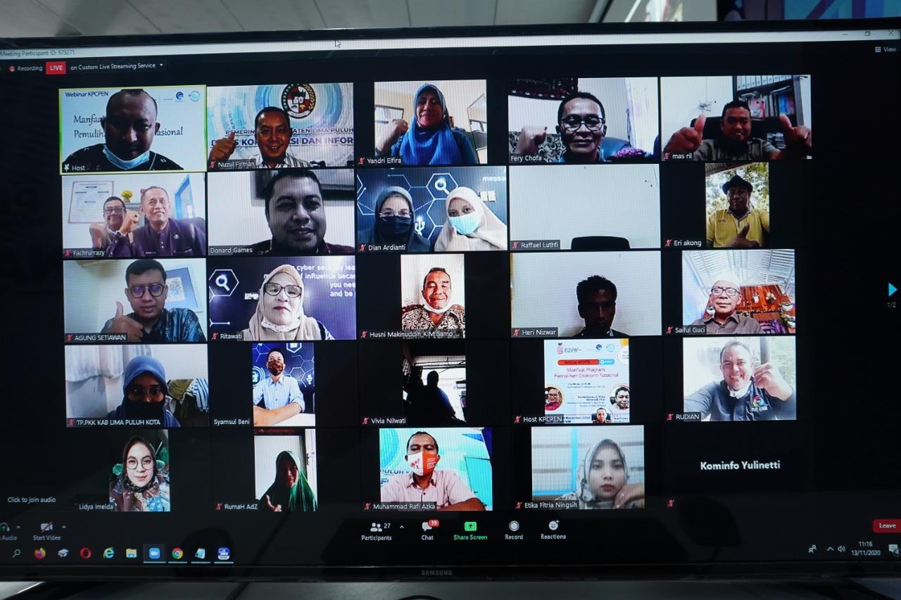 Diskominfo Lima Puluh Kota Bersama KPCPEN Gelar Webinar Seminar Online Manfaat Program PEN Bagi UMKM
